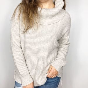 RUBY MOON | Ribbed Lace Up Sides Cowl Neck Sweater